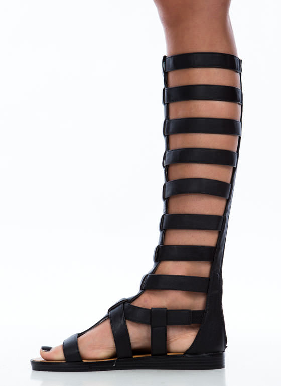 Action Packed Arena Gladiator Sandals BLACK