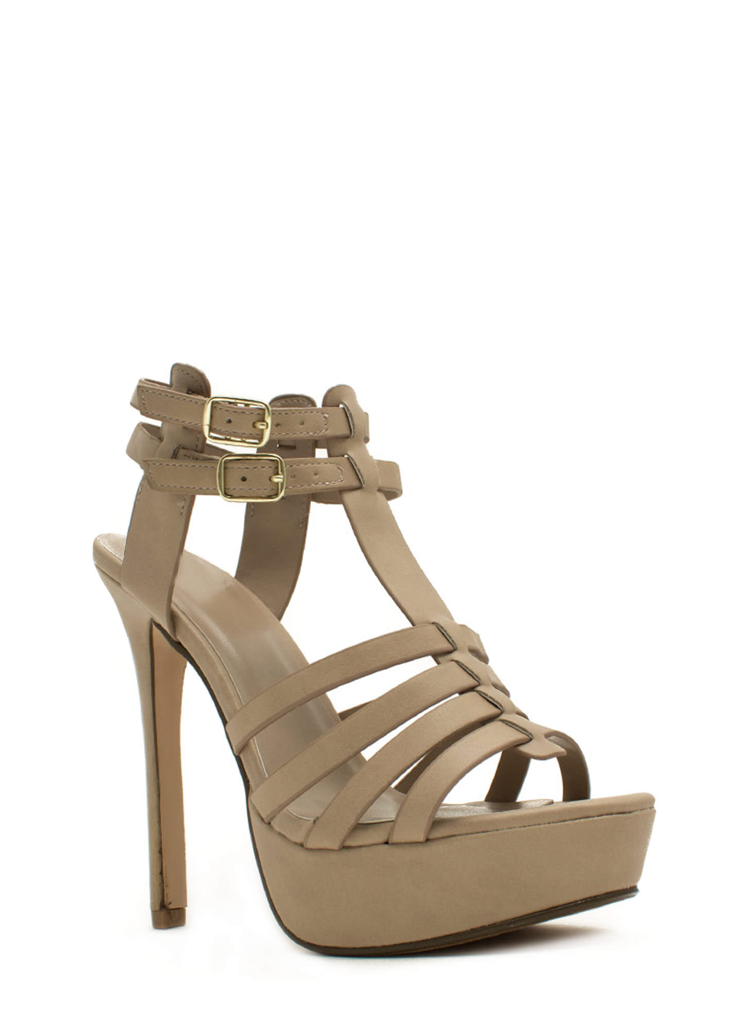 Ladder Strapped Platform Heels PUTTY