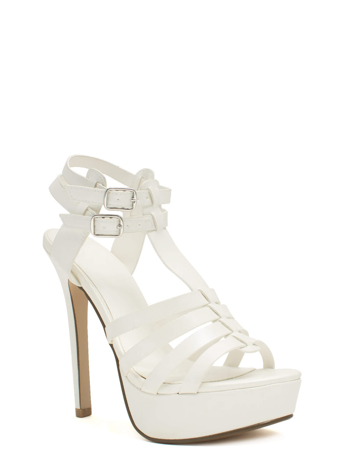 Ladder Strapped Platform Heels WHITE