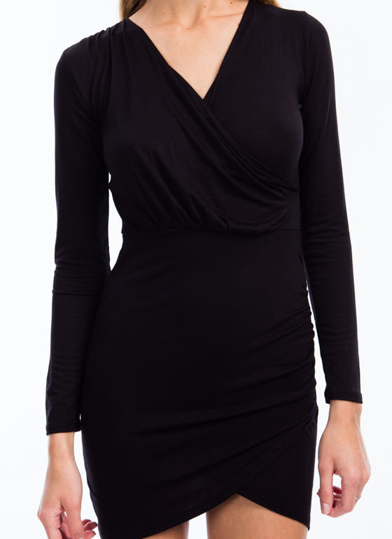 Wrap It Up Draped Surplice Dress BLACK