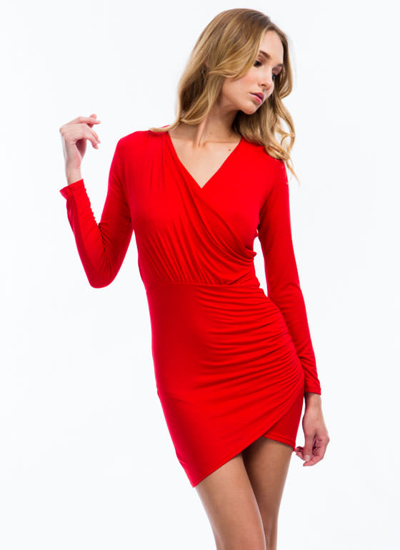 Wrap It Up Draped Surplice Dress RED