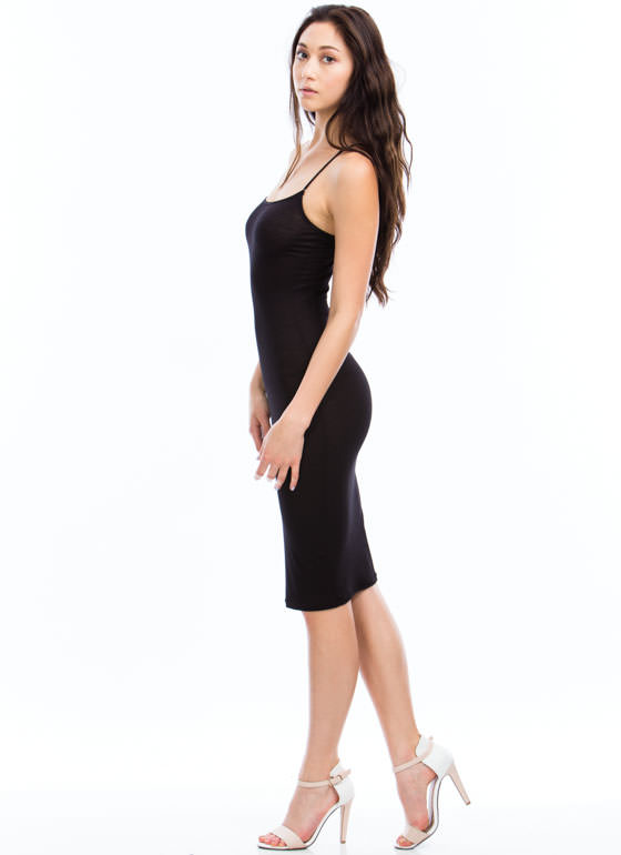 Slip My Mind Strappy Cami Midi Dress BLACK