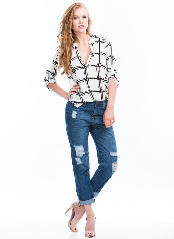 Perfectly Distressed Boyfriend Jeans BLUE