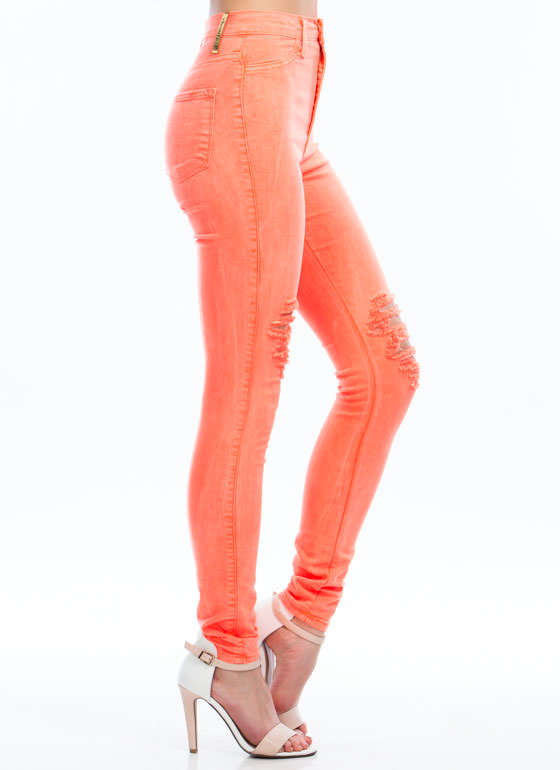 Neon Of Ur Business Jeans NEONCORAL