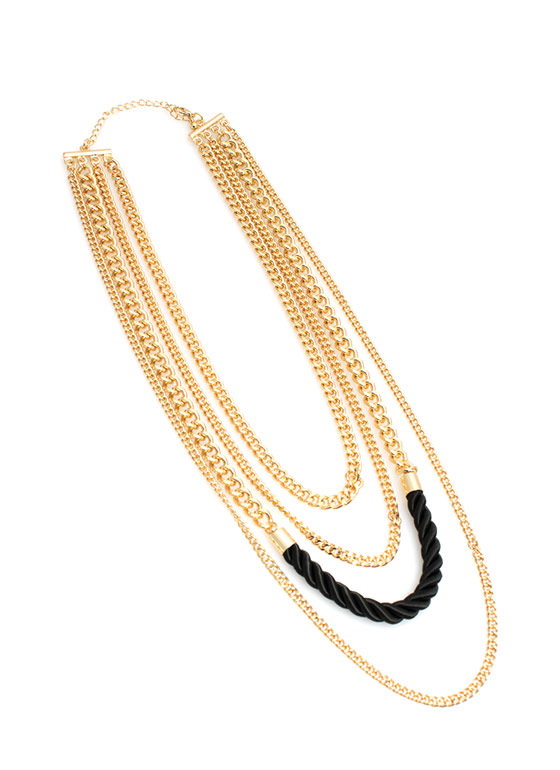 Quad Chain Layered Necklace GOLDBLACK
