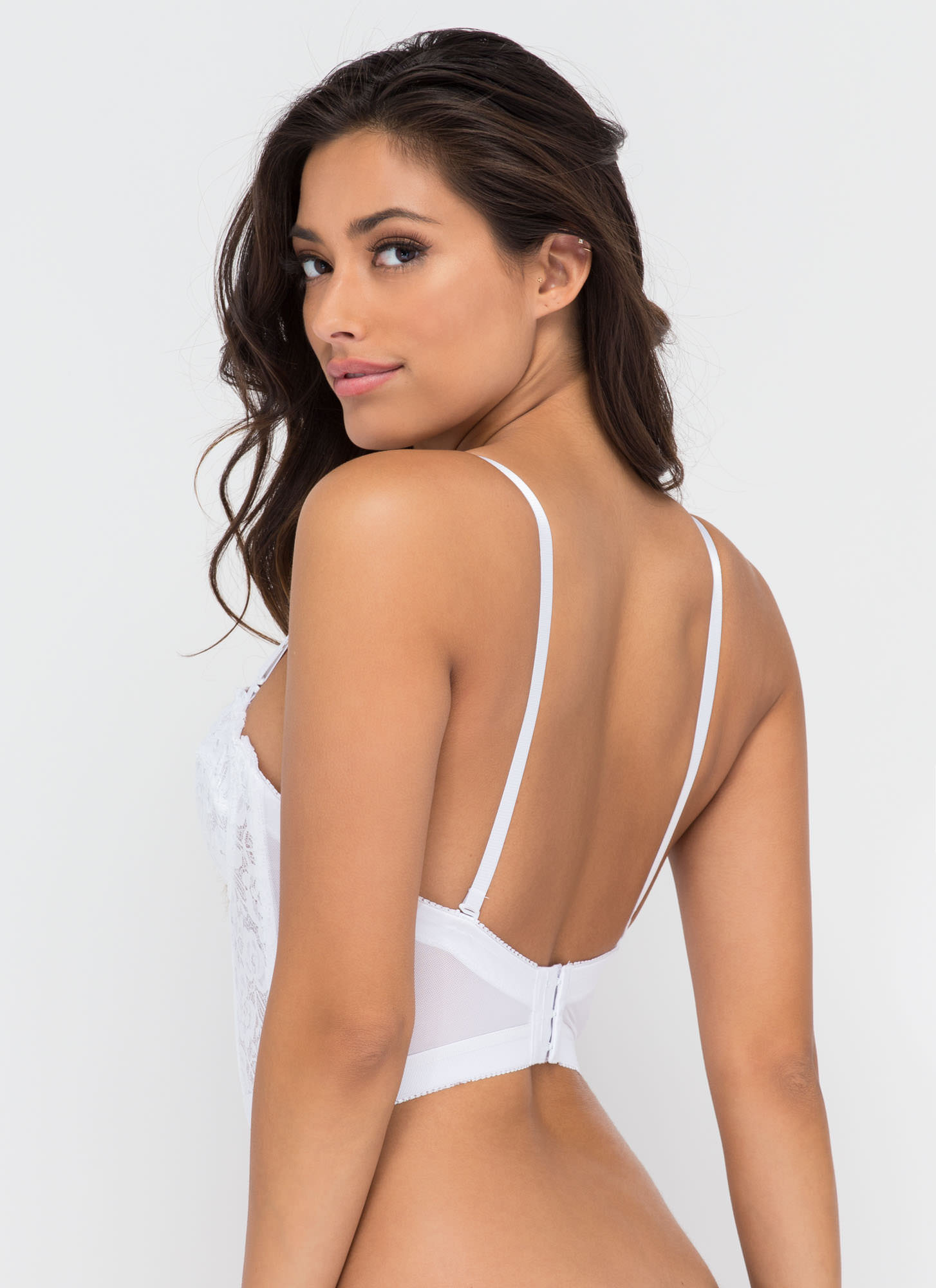 I Love Lacy Adjustable Corset Bra WHITE