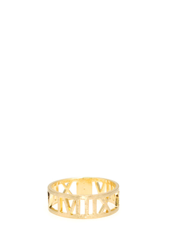 Cut-Out Roman Numeral Ring GOLD