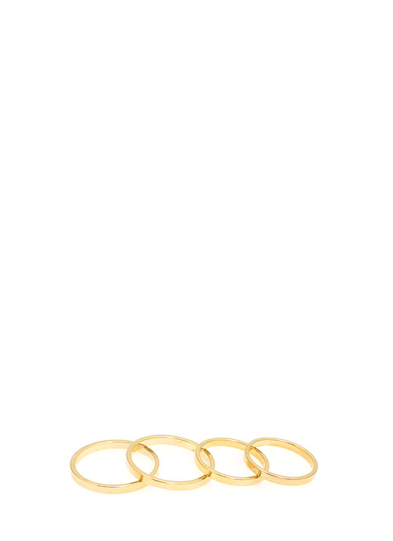 Skinny Flat-Banded Four Ring Set GOLD