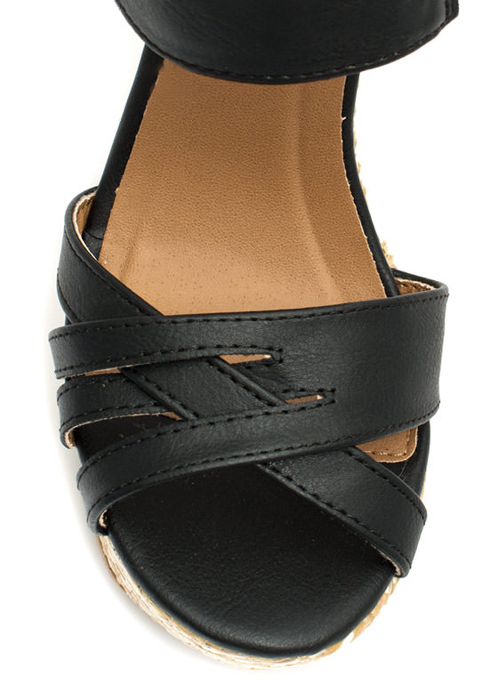 Basket Case Strappy Woven Wedges BLACK
