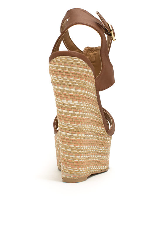 Basket Case Strappy Woven Wedges COGNAC