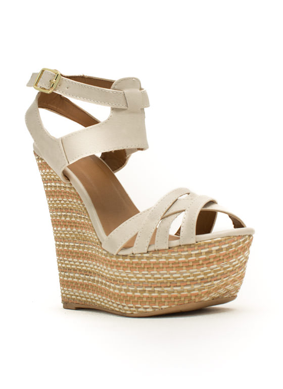 Basket Case Strappy Woven Wedges STONE