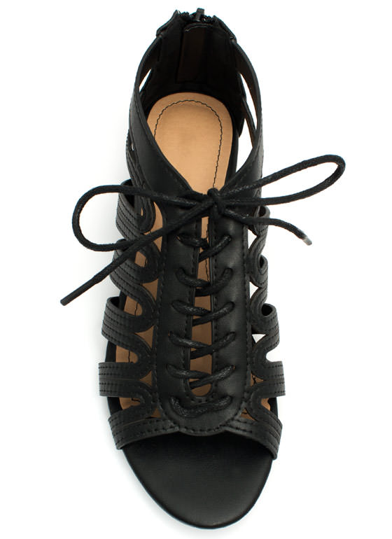 Feeling Loopy Strappy Lace-Up Wedges BLACK