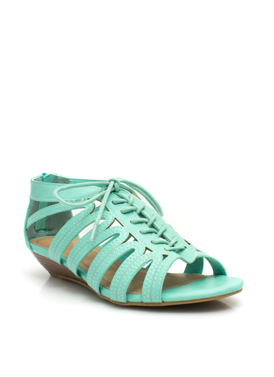 Feeling Loopy Strappy Lace-Up Wedges MINT