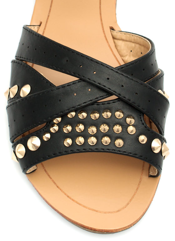 Stud-ly Layered Faux Leather Sandals BLACK