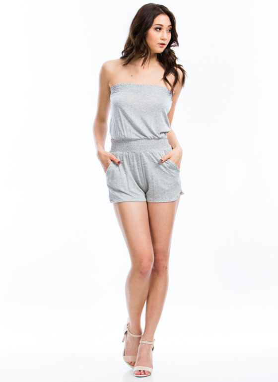 Strapless Smocked Romper GREY