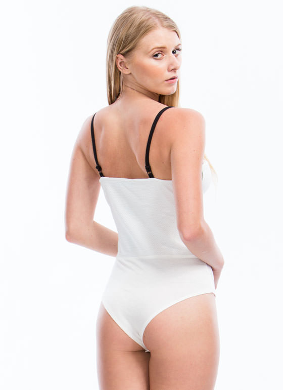 Piping Hot Strappy Bustier Bodysuit IVORY
