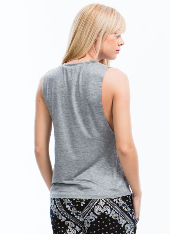 Flex Your Muscle Basic Tank HGREY