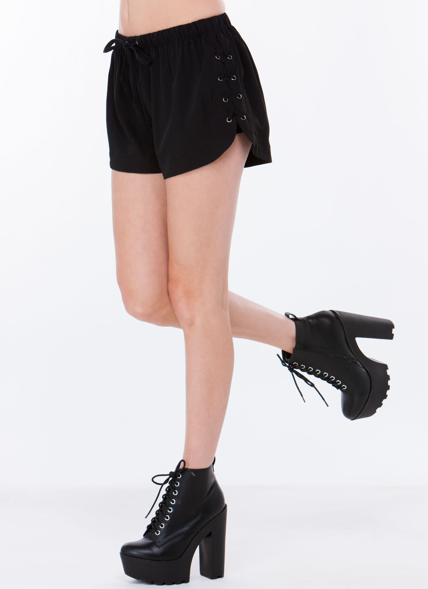 Laced Is More Drawstring Shorts BLACK
