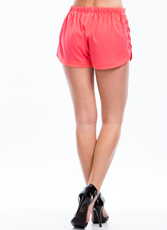 Laced Is More Drawstring Shorts CORAL