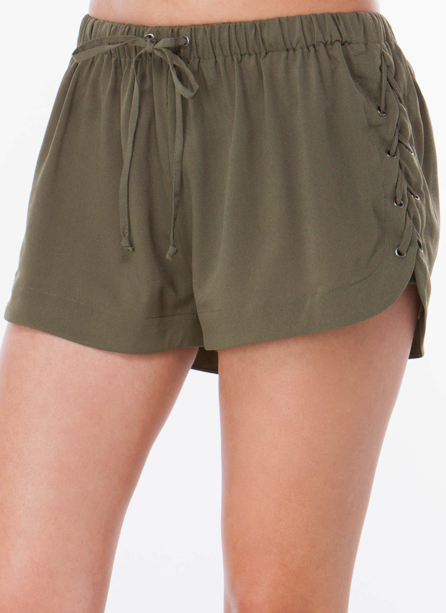 Laced Is More Drawstring Shorts OLIVE