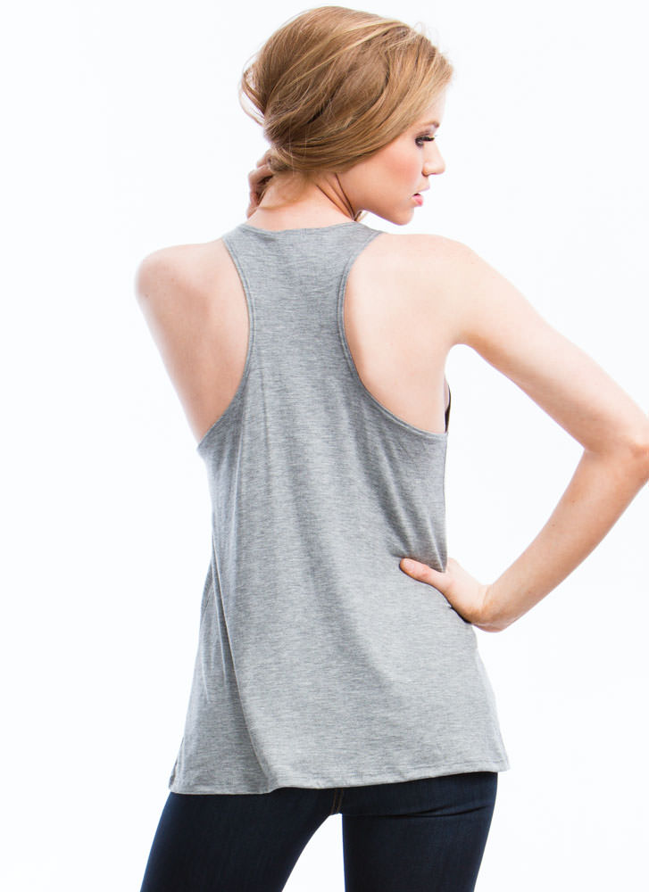 So In Tunic With My Needs Basic Tank HGREY