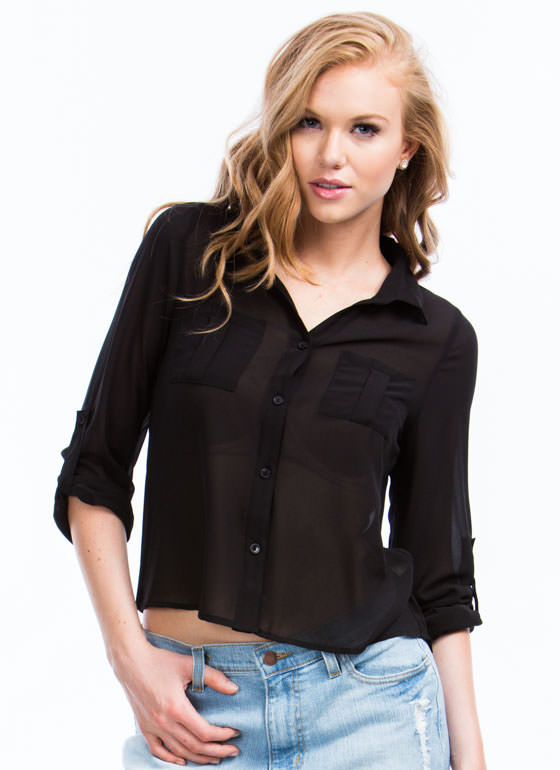 On A Roll Tab High-Low Blouse BLACK