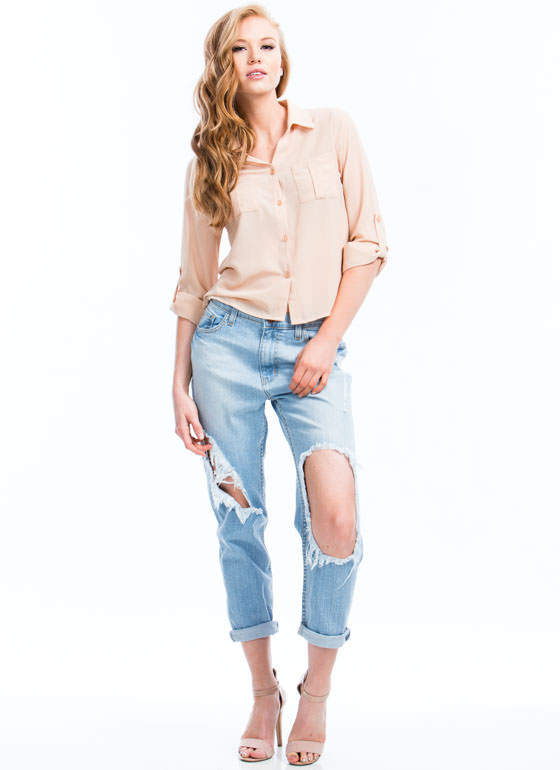 On A Roll Tab High-Low Blouse CREAM