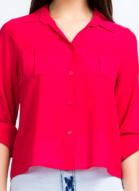 On A Roll Tab High-Low Blouse FUCHSIA