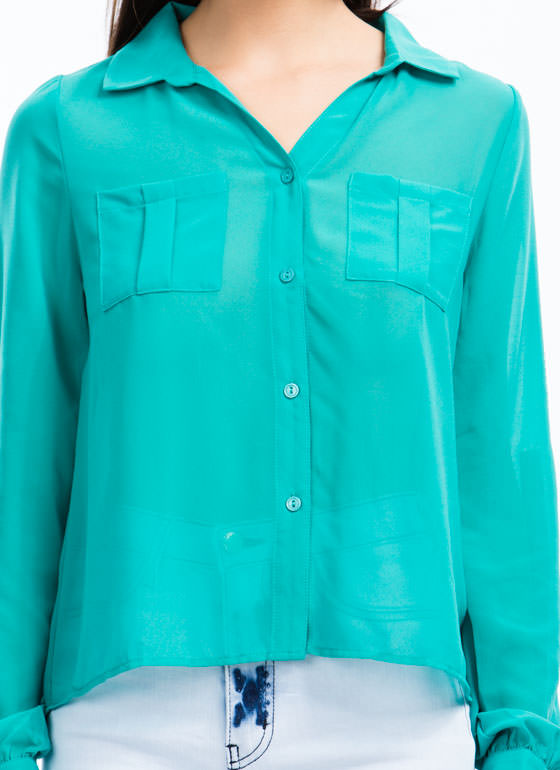 On A Roll Tab High-Low Blouse JADE