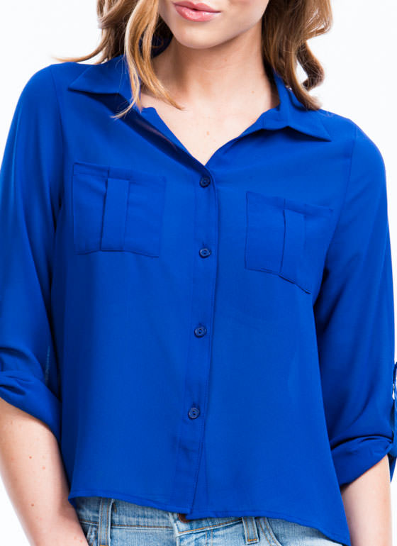 On A Roll Tab High-Low Blouse ROYAL