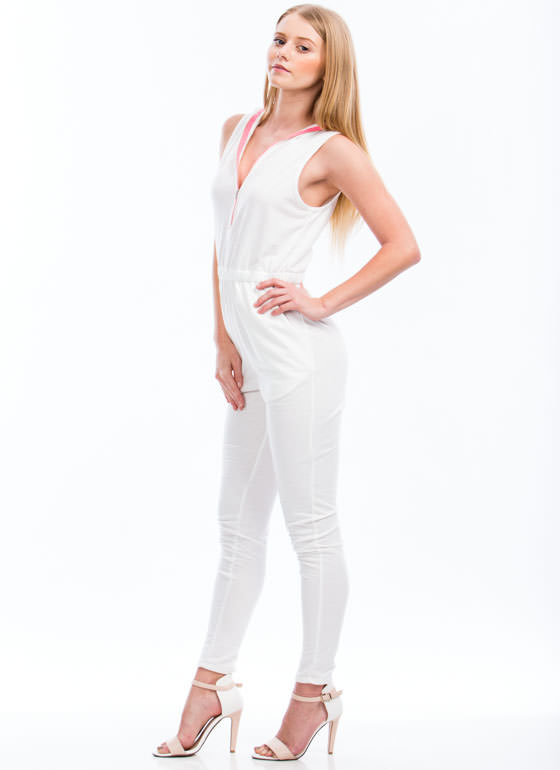 Zip Around Town Jumpsuit WHITE