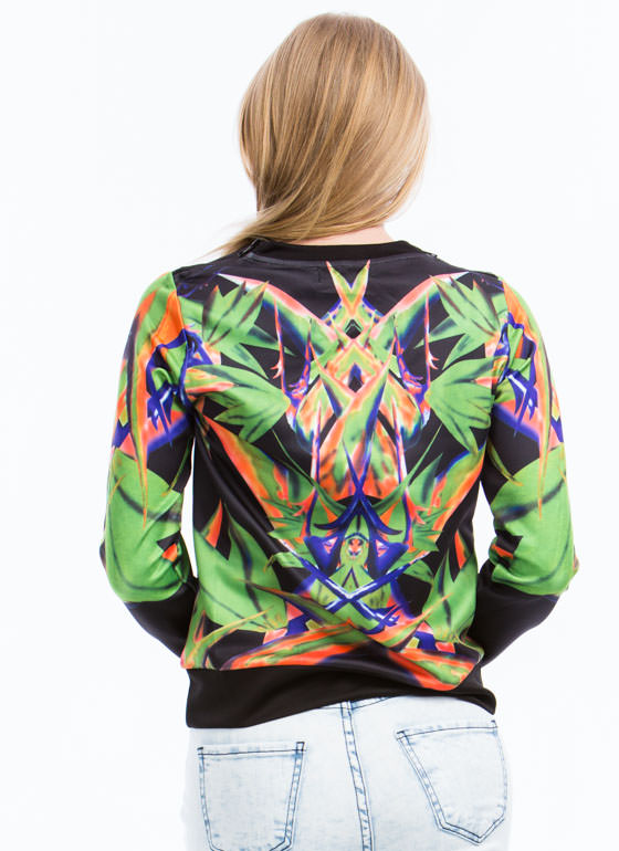 Mirrored Bird Of Paradise Sweatshirt BLACKGREEN