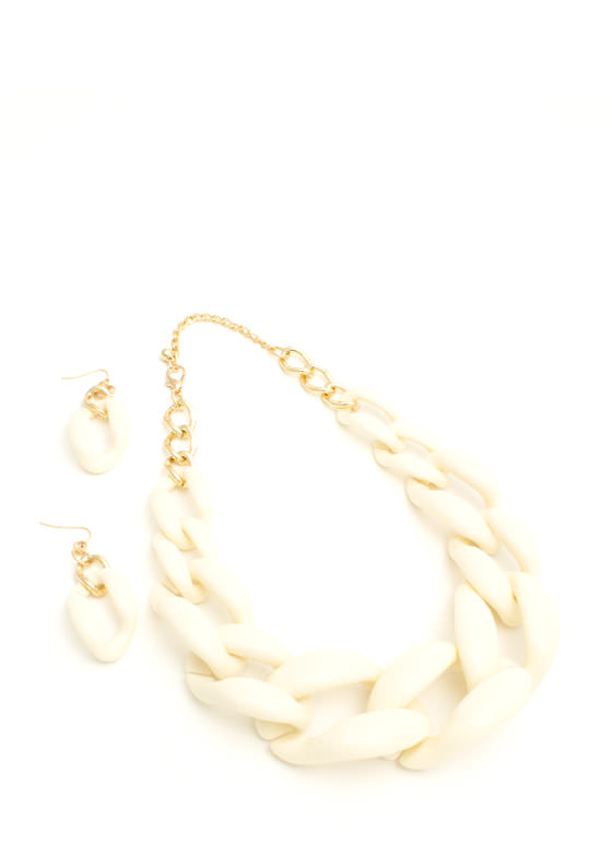 Chunky Coated Chain Necklace Set IVORY