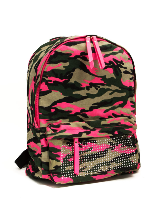 Embellished Camo Print Backpack NEONPINK