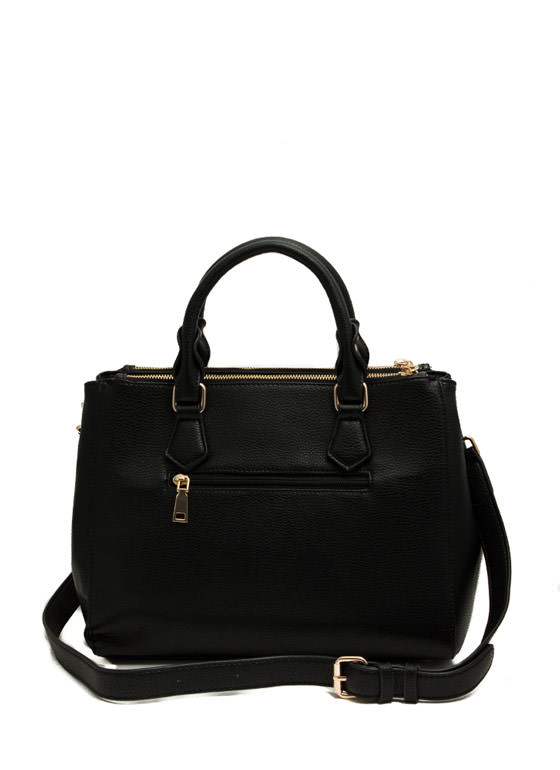 Structured Faux Leather Satchel BLACK