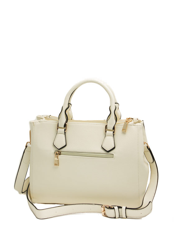 Structured Faux Leather Satchel IVORY