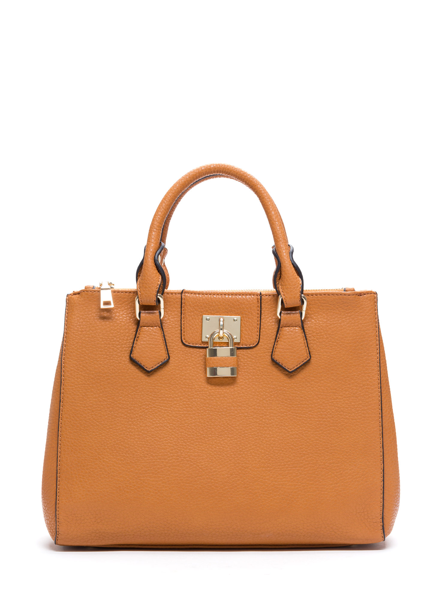 Structured Faux Leather Satchel TAN