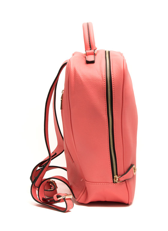Mod Faux Leather Backpack CORAL (Final Sale)