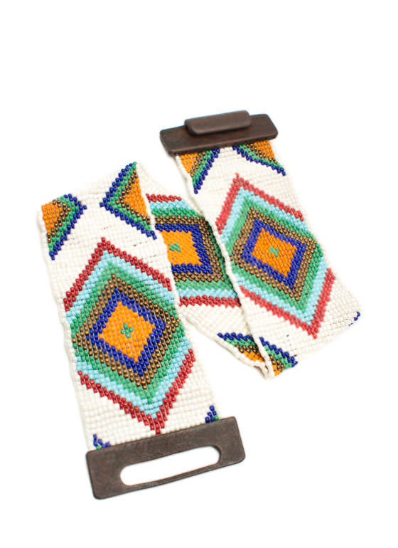 Stretchy Wide Tribal Beaded Belt WHITEMULTI