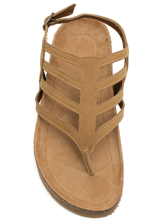 Chevron Cut-Out Sandals CAMEL