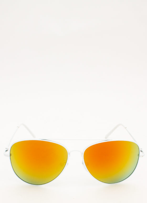 Reflective Aviator Sunglasses ORANGE