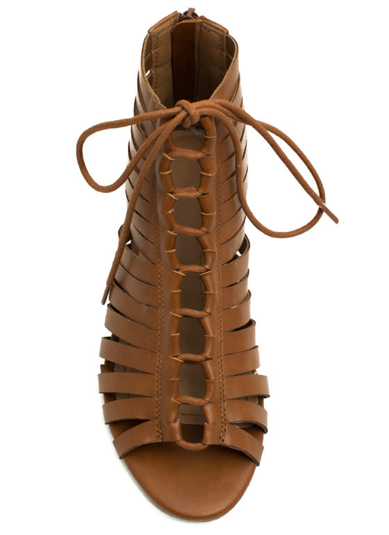 Slit Tight Lace-Up Wedges CHESTNUT