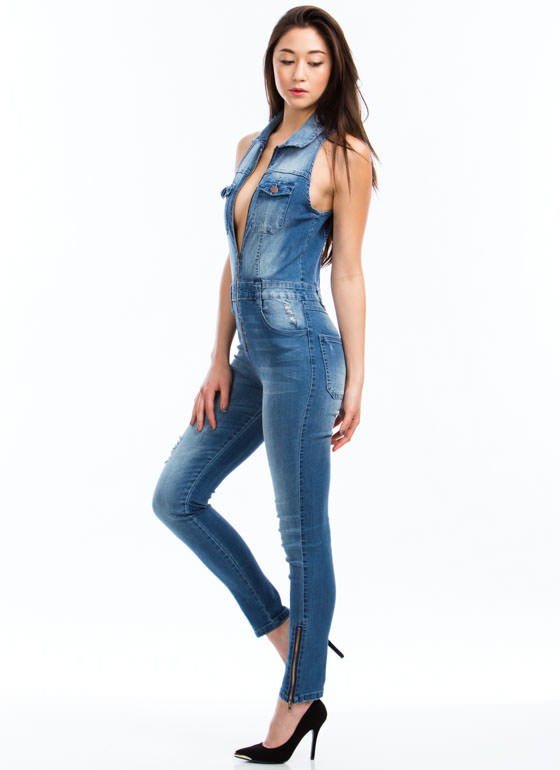Collar Me Maybe Skinny Denim Jumpsuit BLUE (Final Sale)