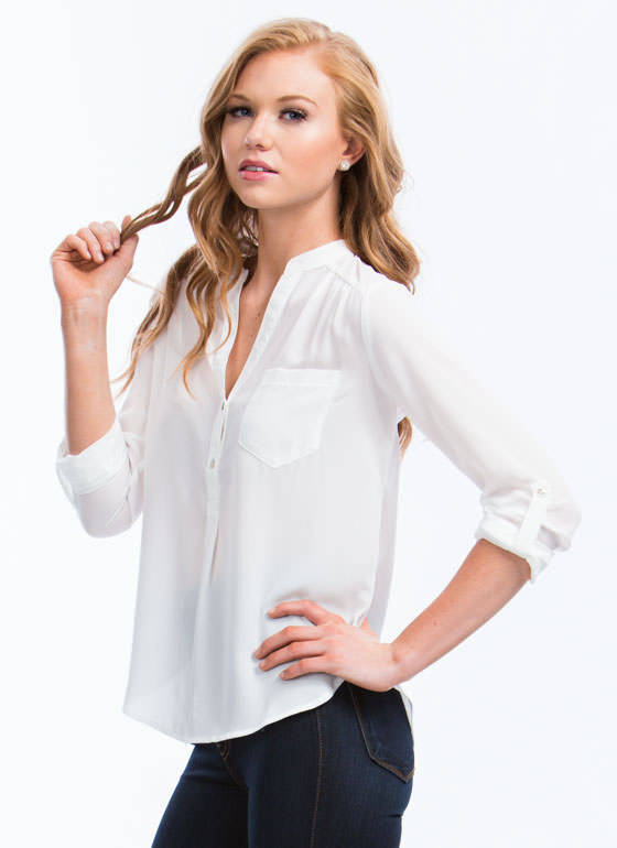Perfect Basic Roll-Up Blouse WHITE