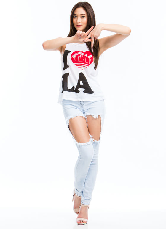 I Heart LA Palm Trees Muscle Tank WHITE