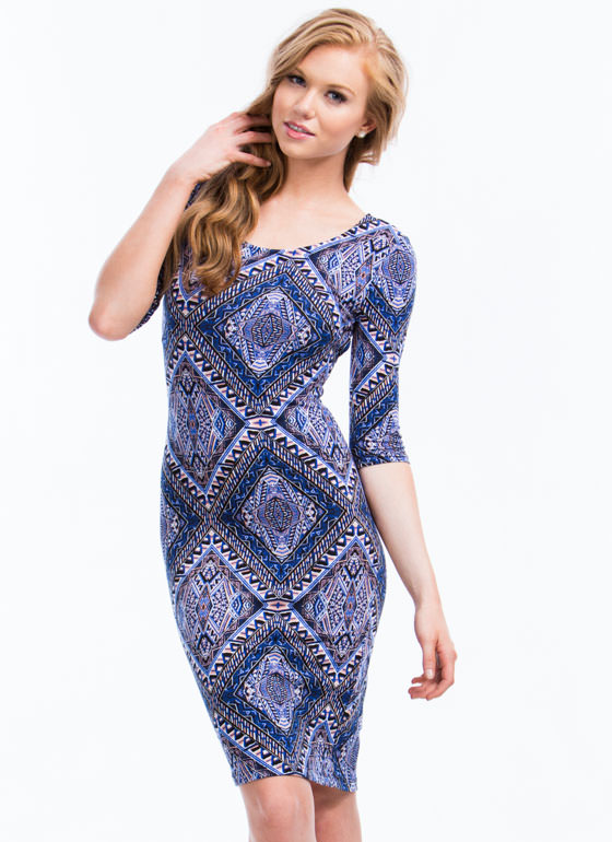 Aztec Crossback Bodycon Dress BLUE
