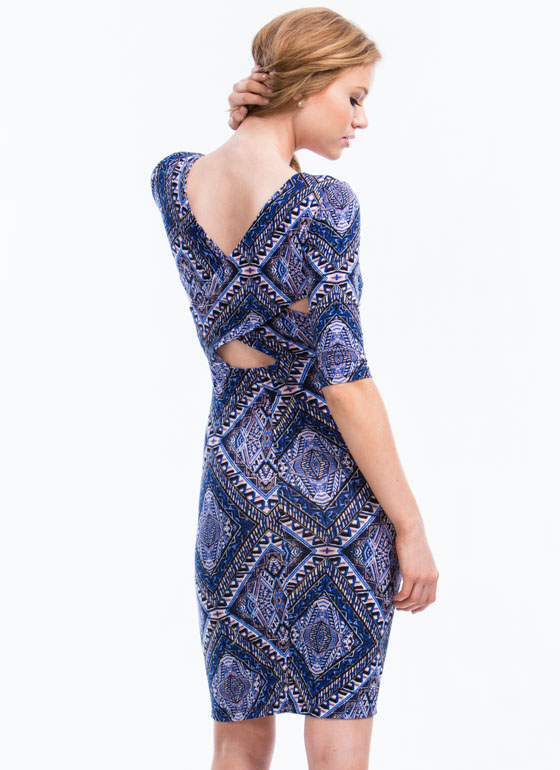 Aztec Crossback Bodycon Dress BLUE (Final Sale)
