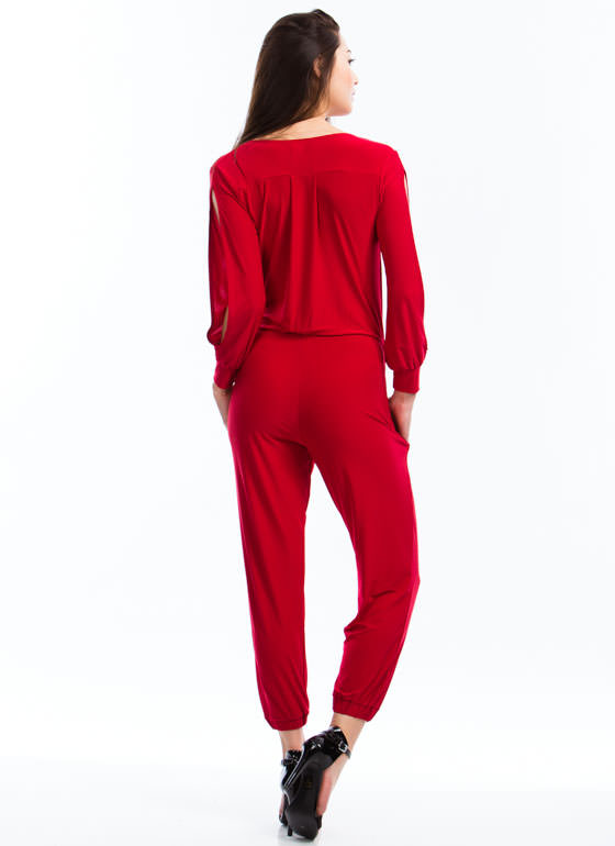 Slit Sleeves Jumpsuit RED