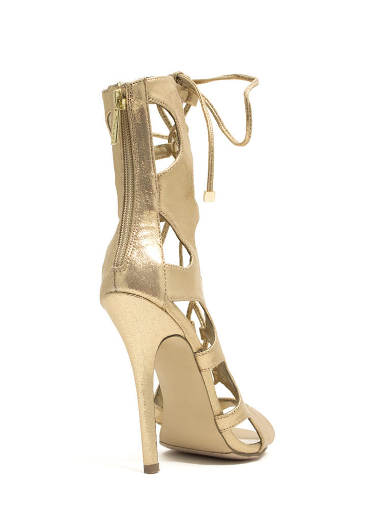 Night Is Young Lace-Up Heels GOLD