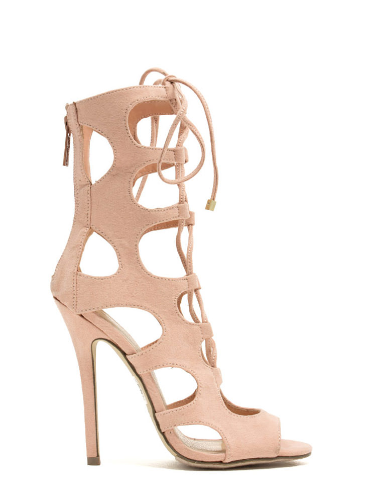 Night Is Young Lace-Up Heels NUDE